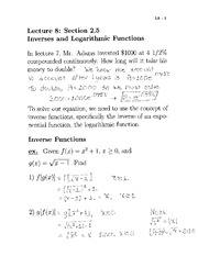 Lecture 8- Inverses and Logarithmic Functions
