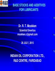 Base Oils &Additive for Lubricants- Mookken.pdf