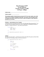 Midterm Exam 2 Solution Fall 2003 on Data Structures