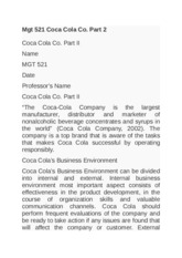 Mgt 521 Coca Cola Co. Part 2 business environment financial health