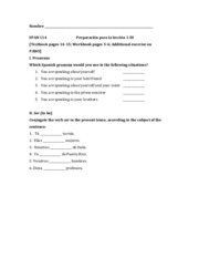 Prep for 1-III Personal pronouns and Ser