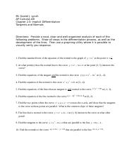Calculus 2-5 Tangents and Normals-worksheet (1).doc