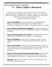 GMU LIBRARIES GUIDE TO RESEARCH