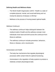 Defining Health and Wellness Notes