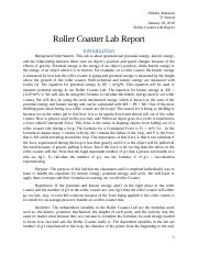 Roller Coaster Lab Report