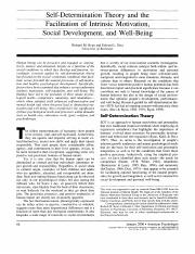 5. SDT and the facilitation of intrinsic motivation, social development, and well-being (Ryan & Deci