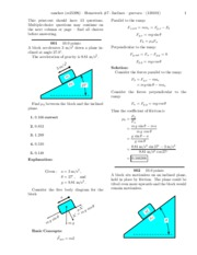 Homework #7 - Inclines -solutions