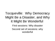 Sociology 370 - Tocqueville Pessimistic