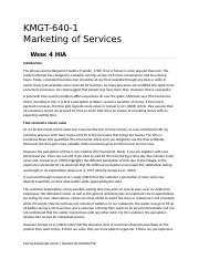 KMGT 643 Marketing of Services - Week 4 HIA