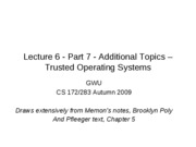 CS283 - Lecture 6 - Part 7 - Additional Topics - Trusted Operating Systems