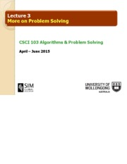 Topic 3 - More Problem Solving