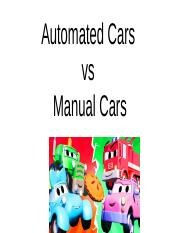 Automated cars vs manuel cars