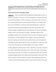 Bioethics Essay  Argument   Chantel Oah Bioethics Disilvestro   Pages Bioethics Essay  Argument