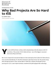 Why Bad Projects Are So Hard to Kill