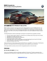 2016MY M4 GTS- 02 - Product Bulletin and Pricing Information.pdf