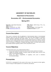 Econ 357 - Spring 2013-Outline
