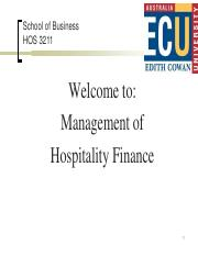 WEEK 1 - HOS3211 Introduction to Management of Hospitality Finance(1)