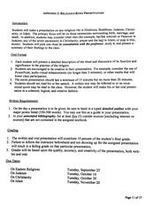 Religious Rites Assignment Instructions