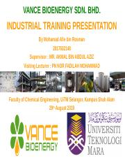 Presentation Li Pptx Vance Bioenergy Sdn Bhd Industrial Training Presentation By Mohamad Afie Bin Rosman 2017632148 Supervisor Mr Akmal Bin Abdul Aziz Course Hero