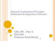 Constitutional Principles Federalism and Sep of Powers