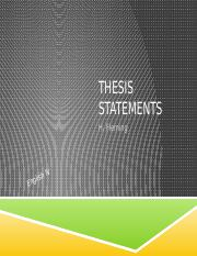 Introductions to Essays-Thesis Statements