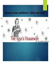 1950s woman's workforce and today-1
