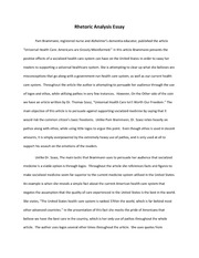Rhetoric Analysis Essay