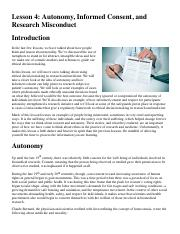 Lesson 4_ Autonomy, Informed Consent, and Research Misconduct.pdf