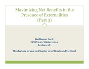 Maximizing Net Benefits In The Presence of Externalities (Part 3)