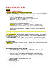 DNH 141 Clinic- UNIT ONE notes.docx