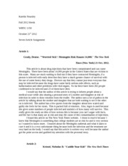 WRTG 1150 Seven Article Assignment