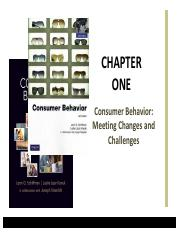 ADM 4325 Chapter 1 - Consumer Behavior - Meeting Changes and Challenges