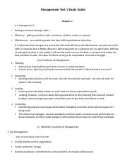 Management Test 1 Study Guide