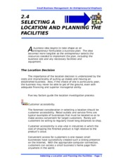 2.4 SELECTING A LOCATION AND PLANNING THE FACILITIES