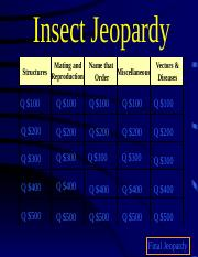 Exam #2 Review Jeopardy Schall Ent 10.ppt