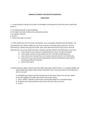 Final Exam - Practice Questions - Products Liability.docx