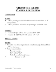 #Chem 161-2007 Recitation 9th week