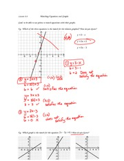 math 9 matching graphs and equations notes