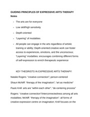 GUIDING PRINCIPLES OF EXPRESSIVE ARTS THERAPY Notes