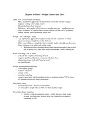 Chapter 10 Notes – Weight Control and Diets
