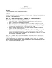MKT 3010 Review Sheet Ch. 5: Analyzing the Marketing Environment