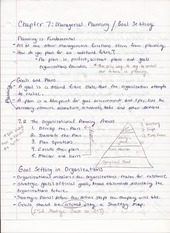 Bus Adm 382 Chapter 7 Managerial Planning:Goal Setting Lecture Notes
