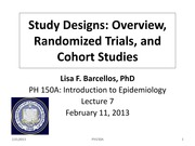 Lec 7 - Overview of Study Designs RCT and Cohort Studies