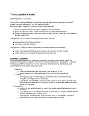Notes - 04b The Adaptable Leader