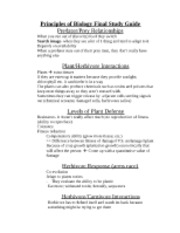 Principles of Biology Final Study Guide