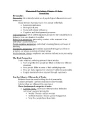 Elements of Psychology- Chapter 12 Notes