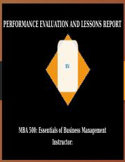 PERFORMANCE EVALUATION AND LESSONS LEARNED REPORT--TEAM PPOINT.pptx