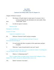 Law 3800, Contract Law Study Guide Part IV F16.docx