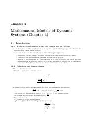 Chapter2 Mathematical Models of Dynamic