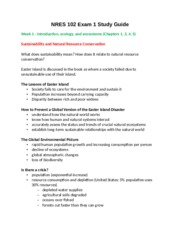 NRES 102 Exam 1 Study Guide